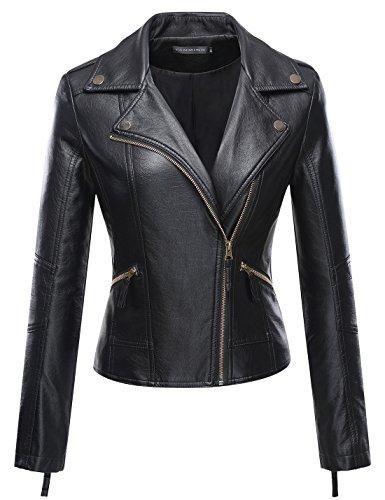 Tanming Women's Faux Leather Collar Moto Biker Short Coat Jacket (X-Large, Black10)