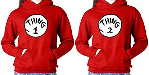 THING ONE AND THING TWO PAIR VALENTINE UNISEX RED HOODIE SMALL - Thing Mens Hoodie