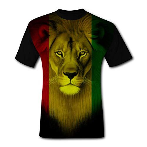 GDANHA Men's T-Shirts Jamaica Flag Rasta Lions Face 3D Floral Print T-Shirt Comfy Casual Tops for Men Tees L Black