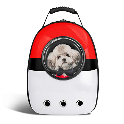 Blitzwolf Anzone Pet Portable Space Capsule Carrier Backpack,Pet Bubble Window Traveller Knapsack Waterproof Lightweight Handbag for Cats Small Dogs & Petite Animals-Red&White