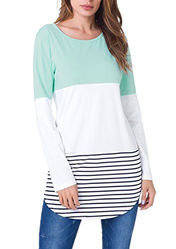 Back Womens Light T-shirt (Janmid Womens Basic Back Lace Striped Tunic Loose T Shirt Dress Tops (XXL, Light Green))
