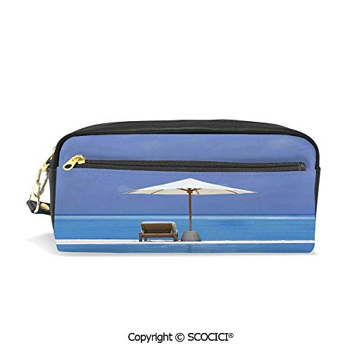 Students PU Pencil Case Pouch Women Purse Wallet Bag Beach Chairs and Umbrella on A Island in The Middle of Ocean Seascape Picture Waterproof Large Capacity Hand Mini Cosmetic Makeup - Ocean Leather Chair
