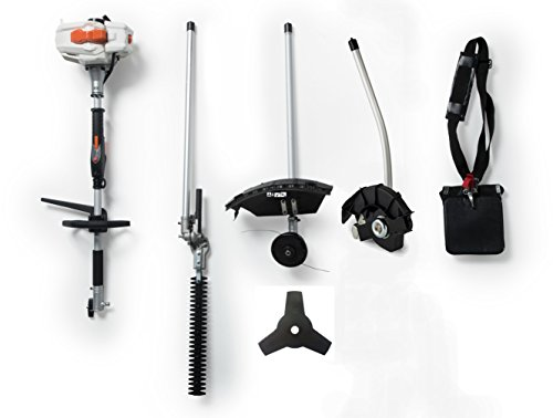 26CC 2 Cycle 4 in 1 Multi Tool with Grass Trimmer Attachment, Hedge Trimmer Attachment , Edger Attachment and Brush Cutter Blade with Bonus Harness