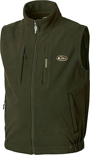 Drake Fleece Vest - Drake Waterfowl Men's Casual Windproof Layering Vest, Olive, Large