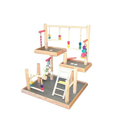 BirdsComfort Three Levels Bird Playgym, Bird Activity Center, Wood Tabletop Playstand for Cockatiels - Base: 20'' x 18' , Overall Height: 24'' - 3 levels by Bird Gyms