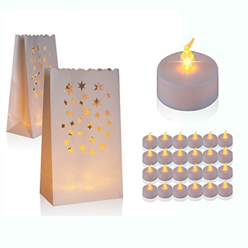 60 Flameless Tea Lights - Yellow Flickering LED Tealight Candles with 30 Starry sky Bonus Luminary Bags