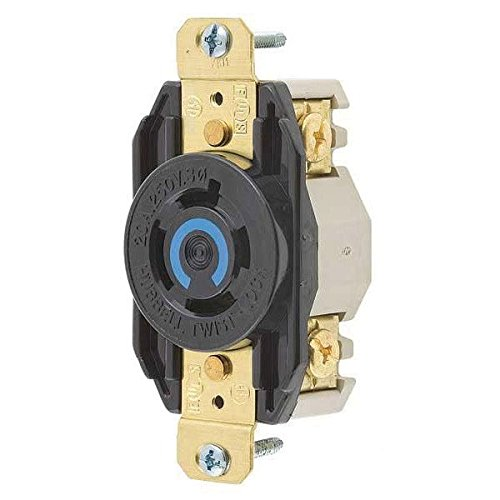 Hubbell Wiring Systems HBL2420 Nylon Face Twist-Lock Receptacle, 20 Ampere, 3 Phase 250V, 3-Pole, 4-Wire Grounding, Black