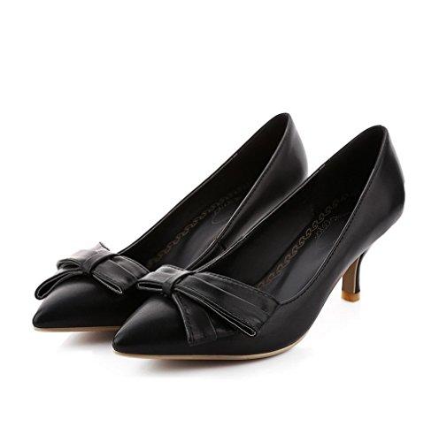AllhqFashion Damen Hoher Absatz Rein Ziehen auf Weiches Material Spitz Zehe Pumps Schuhe Schwarz
