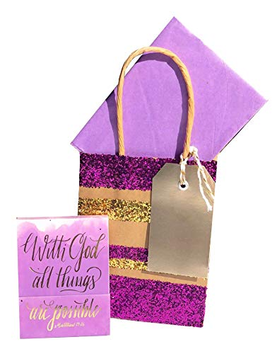 Possible Notepad - Bonnie Marcus 20476 Gold Foil Gem with God All Things are Possible Notepad + Gift Bag.