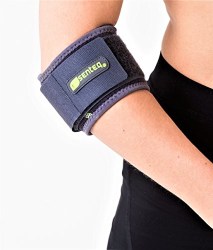SENTEQ Elbow Brace Support Strap - Tennis & Golfer's Elbow Strap Band. Relieves Tendonitis and Forearm Pain. Dual Layers Compression with GEL Pad & Wide Adjustable Strap (SQ1 H009)