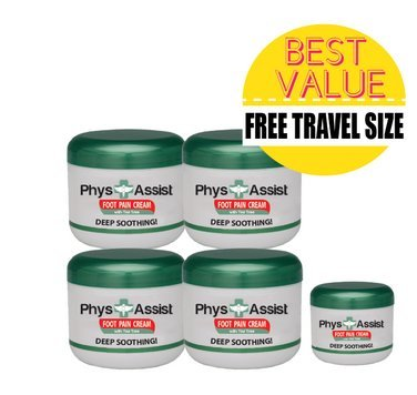 4 PACK A- PhysAssist Foot Pain Cream with Australian Tea Tree Oil. (plus FREE 1 oz- Travel Size)