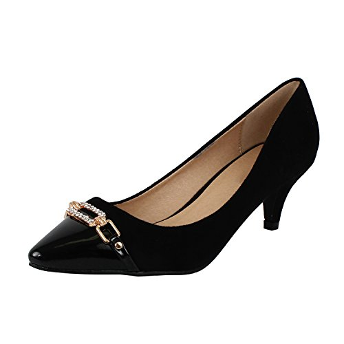 Guilty Shoes Womens Deco Embellished Classic Elegant Closed Pointy Toe Low Kitten Heel Dress Pump Shoes Heeled-Sandals, 12-Black, 7.5