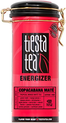 Tiesta Tea Copacabana Mate, Tropical Mango Mate Tea, 50 Servings, 5 Ounce Tin, High Caffeine, Loose Leaf Mate Tea Energizer Blend - Gypsy Zhena Tin