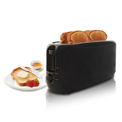Elite Cuisine ECT-3803 Maxi-Matic 4-Slice Long Slot Cool Touch Toaster, Black