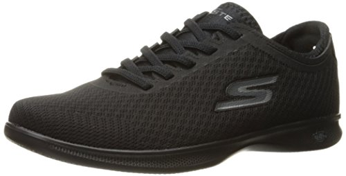 Skechers Performance Women's Go Step Temptation Lite Walking Shoe,Black Mesh,9.5 M US -