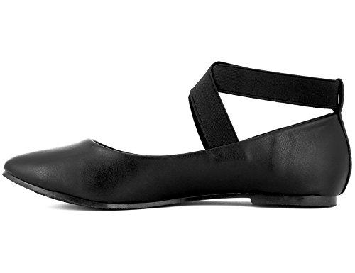 Noir Fermé Plat Maxmuxun Ballet Cruzados 41 36 Femmes Cordons Pointu Cheville Toe Ballerines Avec Eu wqYpSC6