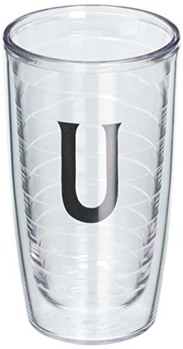 (Tervis Tumbler with Decorative Black Twill Letter-U, 16-Ounce)