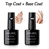 #8: Gellen Gel Nail No Wipe Top Coat Base Coat Set - Home Gel Manicure Long Lasting Super Shiny Kit, 10ml Each