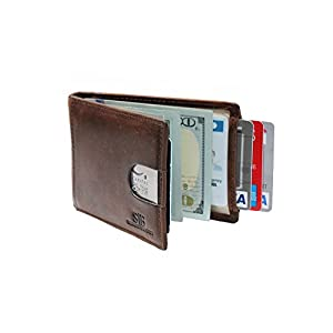 SERMAN BRANDS- RFID Blocking Bifold Slim Genuine Leather Thin Minimalist Front Pocket Wallets for Men Money Clip - Made From Full Grain Leather