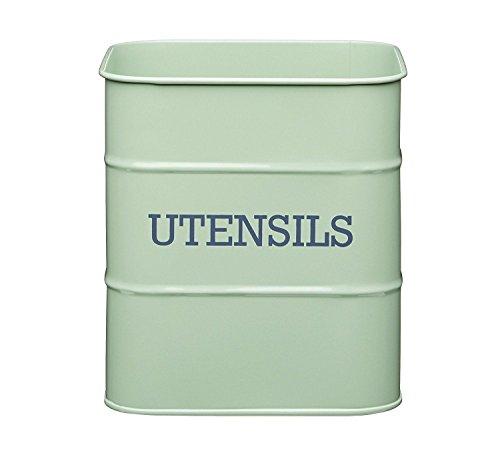 Large Vintage Enamel Style Countertop Utensil Tin Sage Green