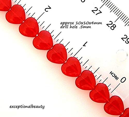 Pendant Jewelry Making 40 Czech Glass Bohemian 10mm Ruby Red Hearts Flat Puffed Heart Beads