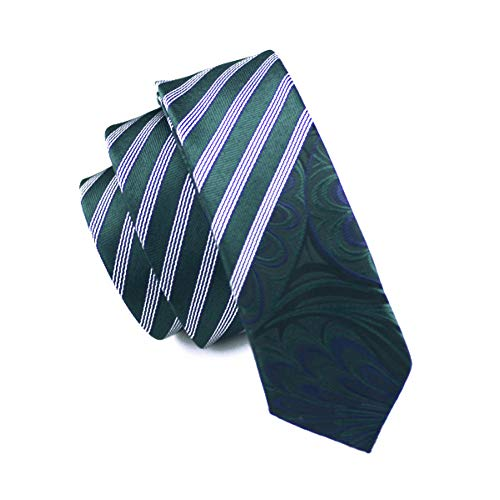 - WOXHY Classic Skinny Tie Dark Green White Striped Slim Neckwear 100% Silk 5.5Cm Casual for Wedding Party Business