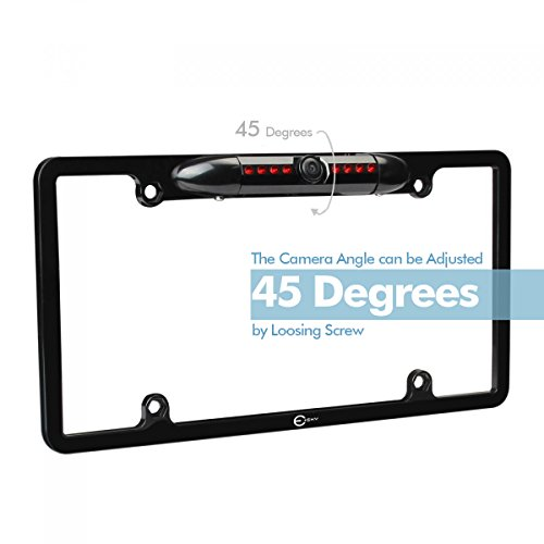 Esky 170° Viewing Angle Universal Car License Plate Frame Mount Rear View Camera, Waterproof High Sensitive 8 IR LED