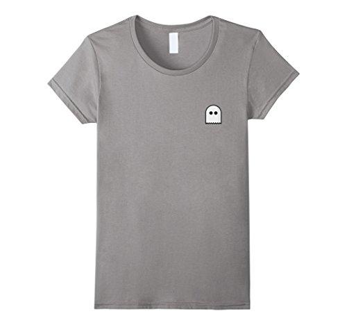 Womens Spooky Ghost Pocket T-Shirt Tee Cute Halloween Shirt Icon XL Slate