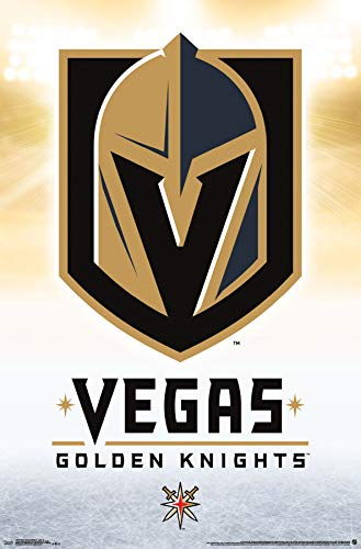 Trends International Vegas Golden Knights-Logo Mount Bundle Wall Poster 22.375