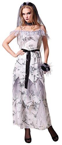 Ladies Long Zombie Dead Ghost Bride + Flowers & Choker Halloween Fancy Dress Costume Outfit UK -