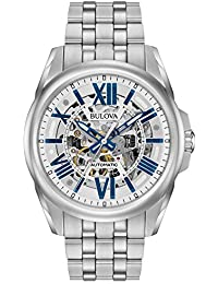 Men's Mechanical Hand Wind Stainless Steel Dress Watch, Color:Silver-Toned (Model: 96A187)