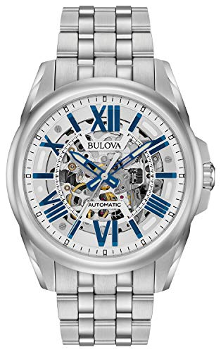 Bulova Men's Mechanical-Hand-Wind Watch with Stainless-Steel Strap, Silver, 22 (Model: 96A187) ()