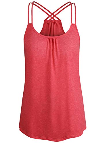 Cyanstyle Womens Loose Tank Tops Dressy Flowy Camisoles Designer Summer Sexy Tops Sleeveless Tunic Maternity Shirts for Women Trendy Boutique Clothes Going Out Rose Red - Designer Sexy Clothes