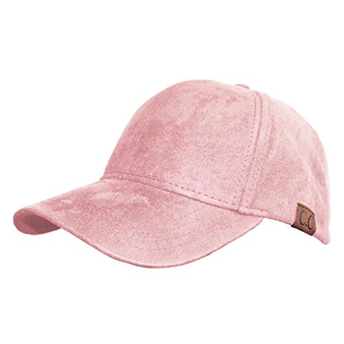 (H-6BA3-65 Faux Suede Leather Classic Plain Adjustable Womens Baseball Cap - Rose)