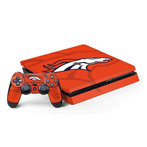 Skinit NFL Denver Broncos PS4 Slim Bundle Skin - Denver Broncos Double Vision Design - Ultra Thin, Lightweight Vinyl Decal Protection