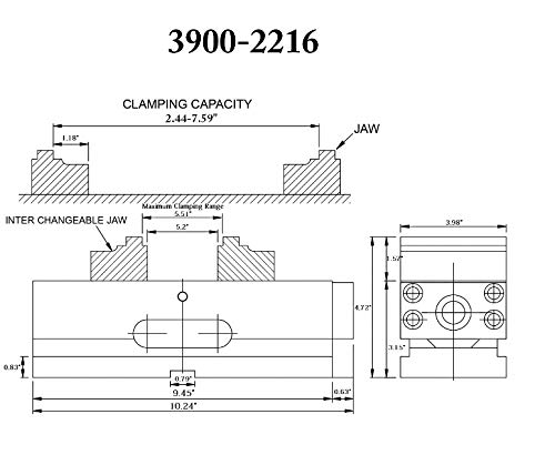 Vertex 3900-2216 4'' Self-Centering CNC Vise