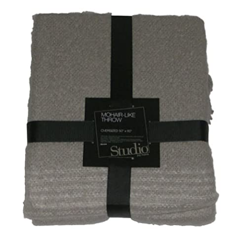 Studio Sweater Soft Mohair-Like Pale Gray Throw Blanket Soft Warm & Cuddly