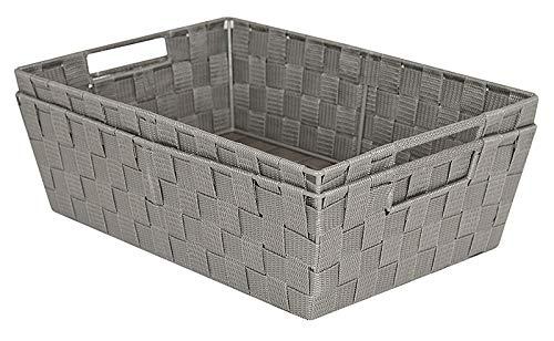 (Elaine Karen Deluxe Woven Strap Storage Tote Shelf Basket Bins - 17