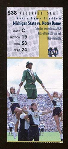 2001 Notre Dame v Michigan State Football Ticket 9/22 Notre Dame Stadium 43372
