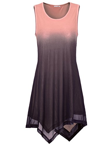 Tunics for Women, Messic Easy Wear Round Neck Sleeveless Comfy Lightweight Dress Stretchy Jersey Tank Top Pink,Large