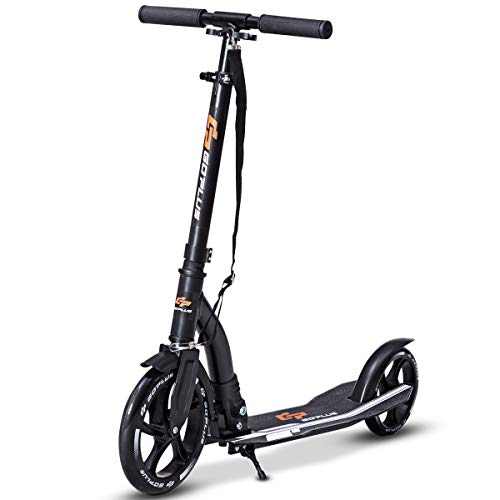 Goplus Foldable Kick Scooter for Adults Deluxe Aluminum 2 Wheels Glider Adjustable Height with Shoulder Strap and Kickstand Gift for Girls and Boys