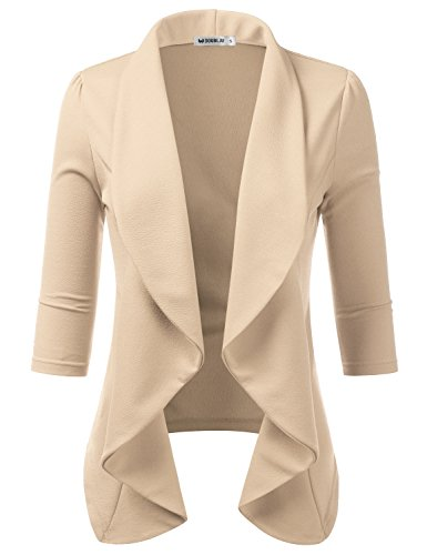 TWINTH Women's Fashion Casual 3/4 Sleeve Slim Office Blazer Jacket Suits Stone 1X Plus Size
