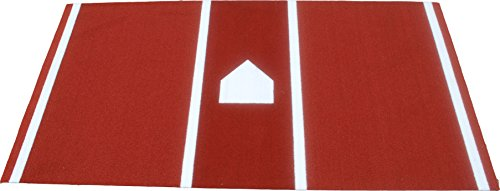 All Turf Mats PBC72144 6' x 12' Clay Baseball/Softball Hitting Stance Mat with Lines and Home Plate