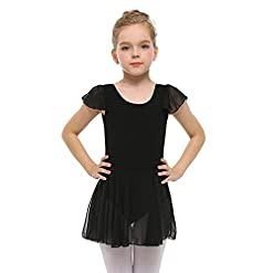 Stelle Girls Ruffle Sleeve Ballet Leotard Dress Black 100