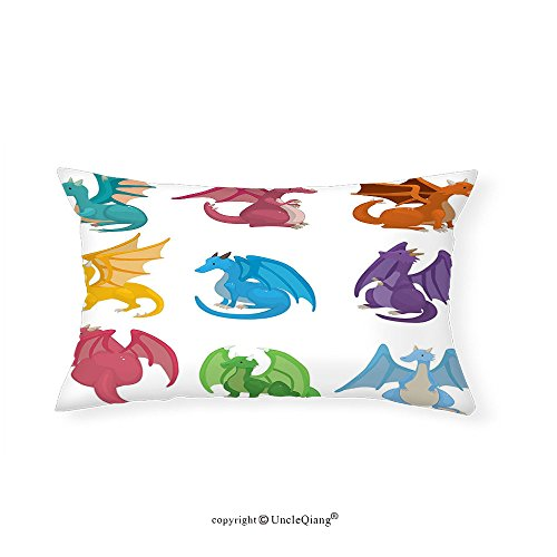 VROSELV Custom pillowcasesDragon Decor Collection Set of Cute Little Baby Winged Dragons in Different Colors Reptile Kids Nursery Cartoon Design Bedroom Living Room Dorm Multi(14''x24'') by VROSELV