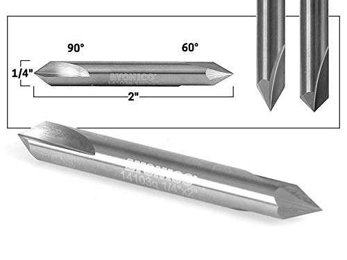 Yonico 14103q 60-Degree/90-Degree V-Groove Double Ended Solid Carbide Router Bit 1/4-Inch Shank ()