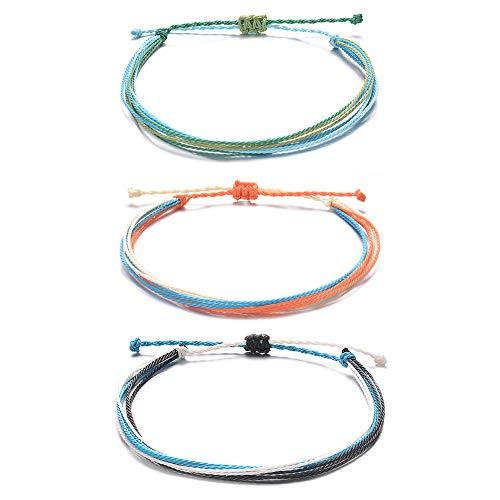 Tarsus Yarn Rope Wax String Ankle Bracelets for Women Teen Girls Layered 3 Anklet Set