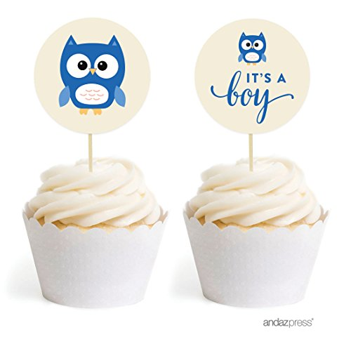 Andaz Press Boy Owl Baby Shower Collection, Cupcake Topper DIY Party Favors Kit, Owl Graphic, It's a Boy!, 20-Pack -