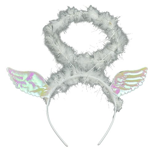 OULII Angel Headband with Wings Halloween Costume Cosplay Accessories Party Decorations (Hen Themed Costumes)