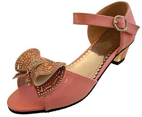 Girls Kids Party Heels Wedding Bridesmaid Flowergirl Sandals Communion Shoes Pink nfCoSW